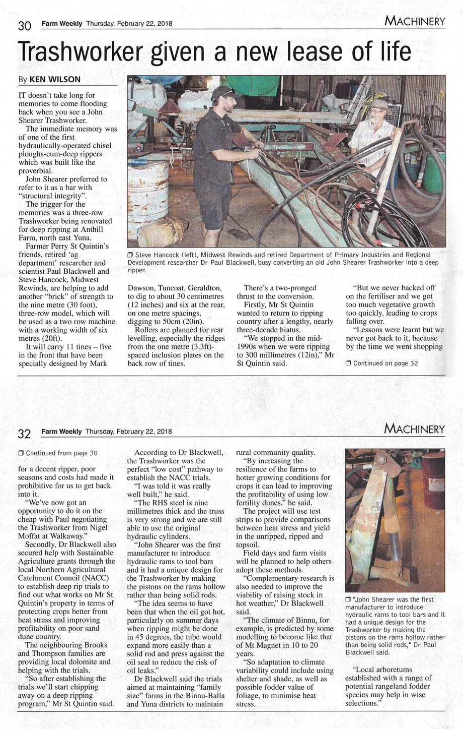 Article from Farm Weekly titled Trashworker given new lease of life