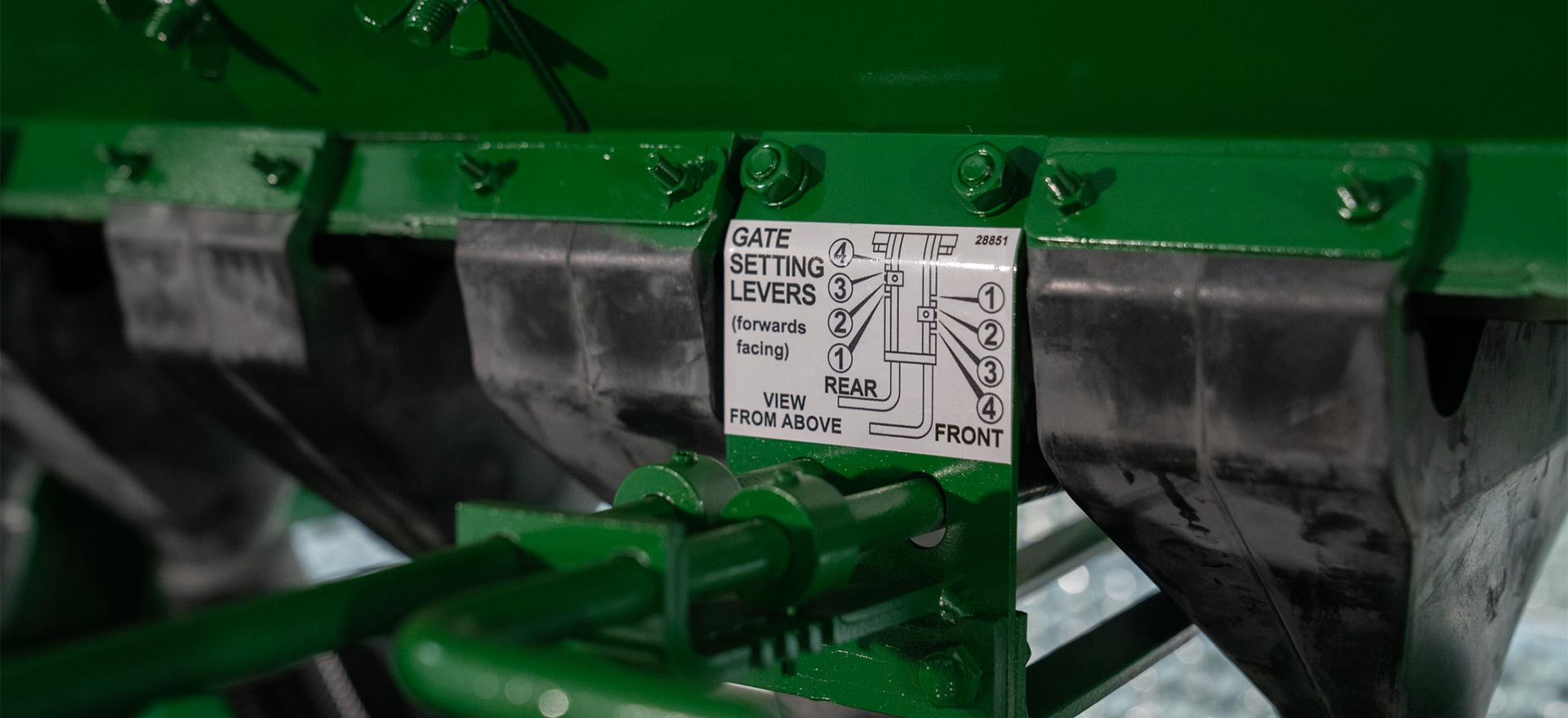 Pasture Renovation Drill gate setting levers