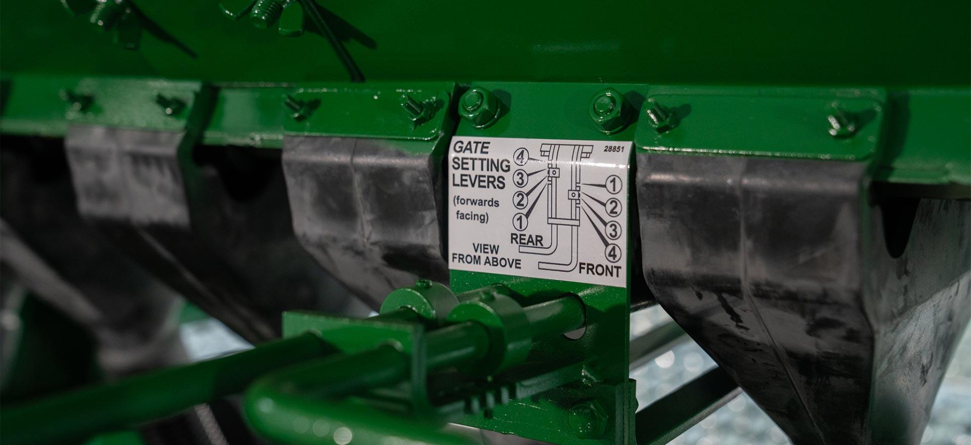 Pasture Renovation Drill gate setting levers