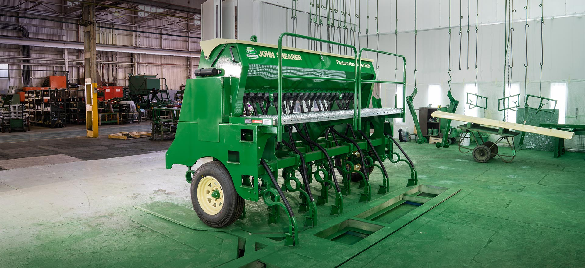 Pasture Renovation Drill in the spraybooth