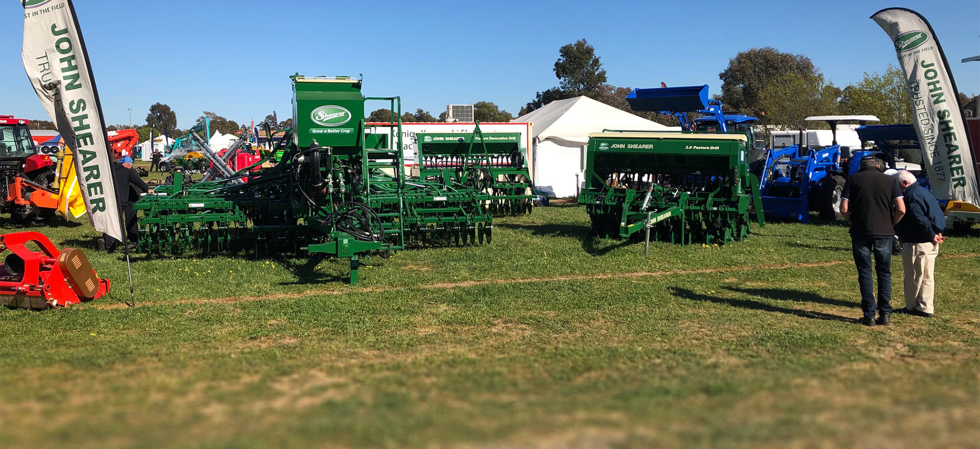 John Shearer seeders on dispaly at Elmore Field Days