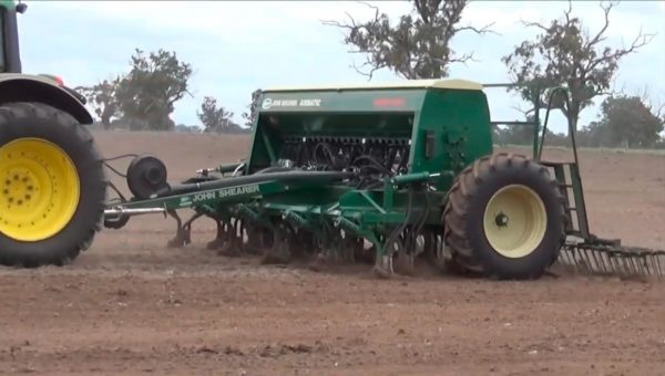 Airmatic Direct Drill with tyne extensions and harrows.