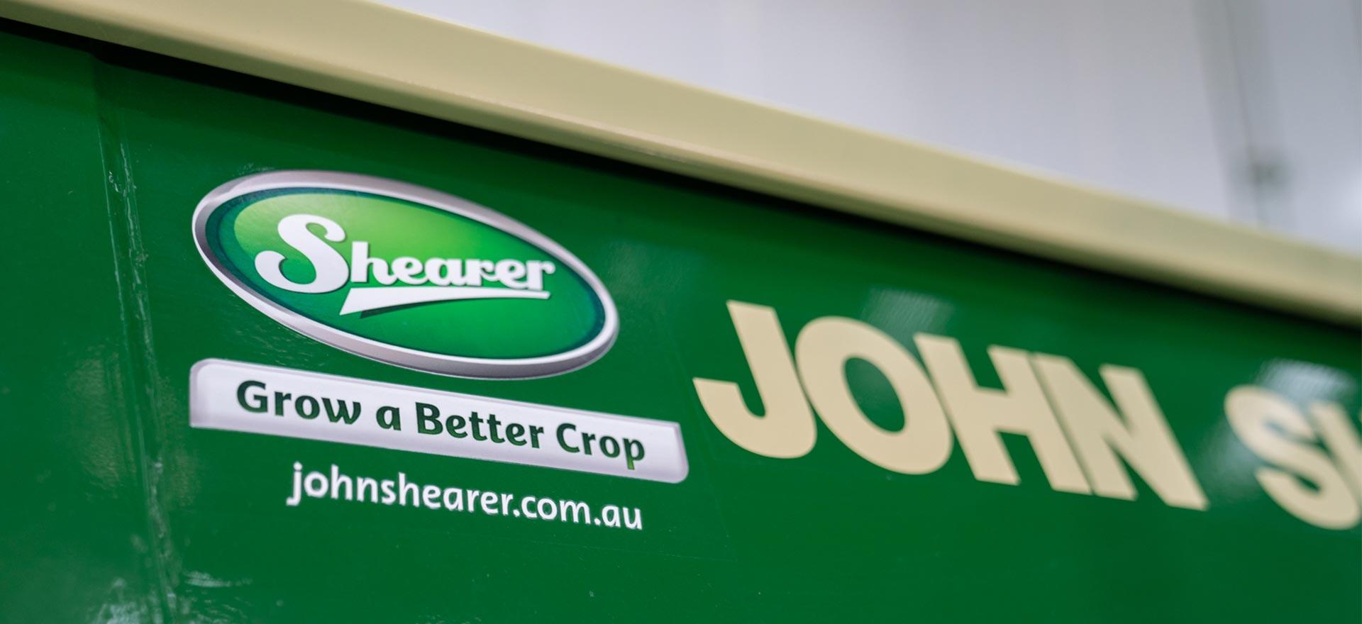 John Shearer branding on a hopper.